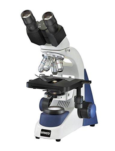 UNICO G380-LED Microscope, Binocular, 10X Wide Field Eyepiece, 4X, 10X, 40X, 100X, Achromat, NA 1.25 Condenser, Iris Diaphragm, Mechanical Stage, LED Illumination, 3W LED Bulb, Coaxial Focusing