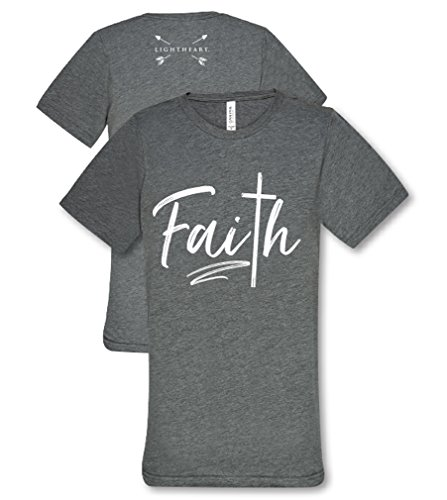 Light Heart Faith Cross Front Tee Womens Classic Fit T-Shirt - Grey Triblend, Large (Mothers Light Heart)