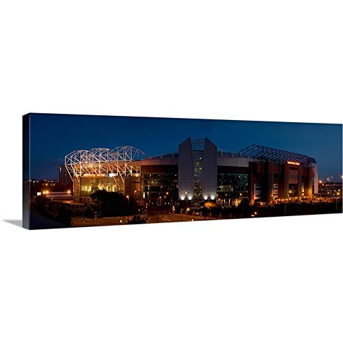 Football Stadium lit up at Night, Old Trafford, Greater Manchester, England Canvas Wall Art Pri.