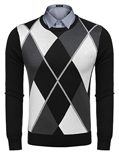 COOFANDY Mens Casual Knitted ThermalPullover Lightweight Slim Fit Argyle Sweater,Black,XX-Large