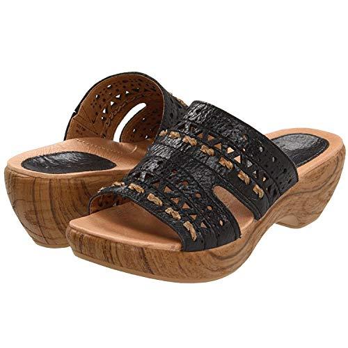 Klogs Kravings USA Millie Black Distressed Leather Sandals 6 ()