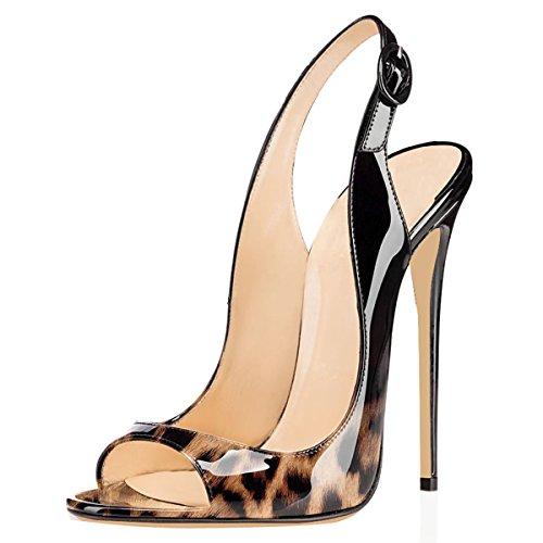 Sandali nero Donna Leopard Slingback Tacco Caviglia Toe a Fibbia Spillo da Peep Scarpe elashe con Cinturino ExqZwUYSn