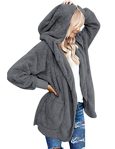 Vetinee Women's Casual Draped Open Front Hooded Cardigan Pockets Oversized Coat Dark Grey Size Medium (fits US 8-US 10)