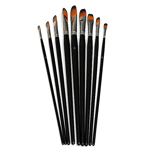 free-shipping-9pcs-nylon-tongue-shape-tip-art-painting-supplies-oil-paints-9pcs-nylon-lengua-con-for