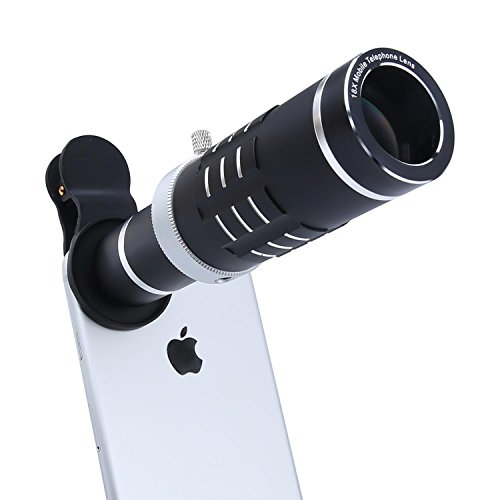 Cell Phone Lens 18X Telephoto Lens with Flexible Tripod and Universal Clip for iPhone Samsung and Most Smart Phone (Black)