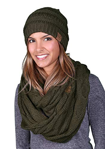 - aHS-6020a-33 Regular Slouchy Beanie Matching Scarf Set Bundle - Olive (Solid)