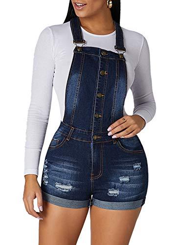 (Aleumdr Bid Jeans Jumpsuit Roll up Cuffs Button Down Women's Classic Denim Short Overall Size XL Dark Blue)