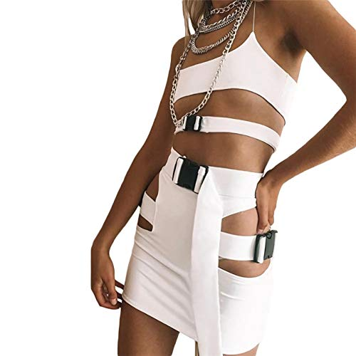 ALERDON Women's Sexy Front Zipper Long Sleeve Skinny Crop Top Shorts Two Piece Set Tracksuit (Medium, White02)