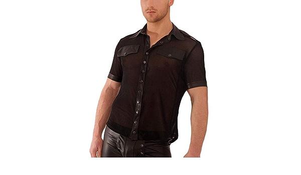 Hecho a mano negro para hombre H022 camisa de tul con aspecto ...