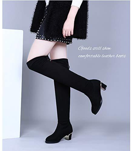 Rodilla single Botas Zapatos Cuadrados Marinero De Goldgod Sobre Baile Baile La Damas 37 866black Aumentados Invierno HwW6apBfcq