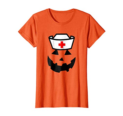 Womens Nurse Pumpkin funny women's Halloween Saying shirt]()
