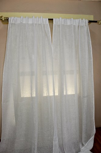 White Linen sheer curtain/panel (52