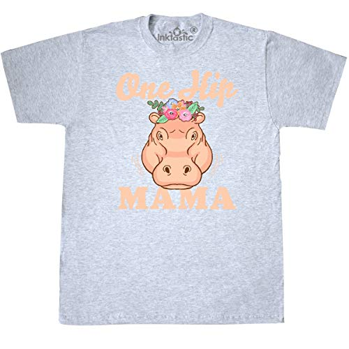 inktastic - Mothers Day One Hip Mama with Hippo T-Shirt Medium Ash Grey 35b17