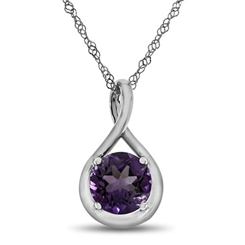 Finejewelers 7mm Round Amethyst Twist Pendant Necklace Chain Included Sterling ()