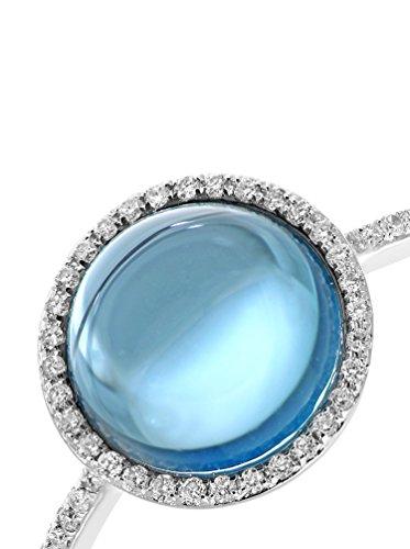 Revoni - Bague en or blanc 9 carats, topaze bleue et diamants