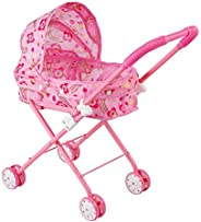 Yesteria Baby Doll Stroller Foldable Pram with Swiveling Wheels Pretend Play Toy for Toddlers and Kids