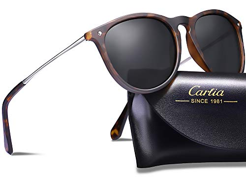 Carfia Polarized Sunglasses for Women Men Vintage Style 100% UV400 Protection (Women/Grey Lens-2, For Women) ()