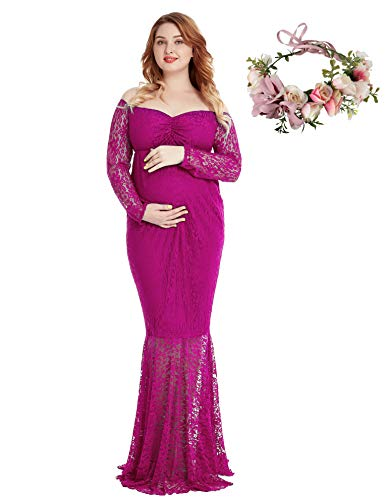 (Pregnant Women Off Shoulder Long Sleeve Lace Maternity Gown Maxi Photography Dress (Rose Red, Medium))