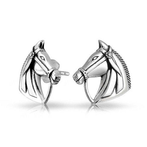 Equestrian Equine Gift Thoroughbred Horse Cowgirl Stud Earrings For Women For Teen 925 Sterling Silver