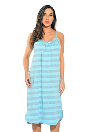 Just Love Nightgown / Women Sleepwear / Womans Pajamas, Light Blue Stripes, XXL , (Plus Sized Sleepwear)