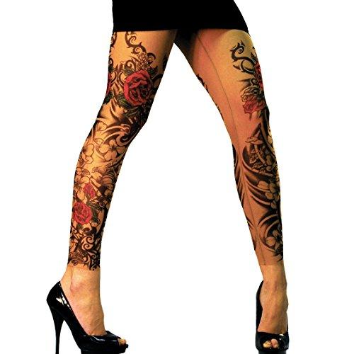 Wild Rose Ladies FLAMENCO Tattoo Mesh Leggings, Tan, ()