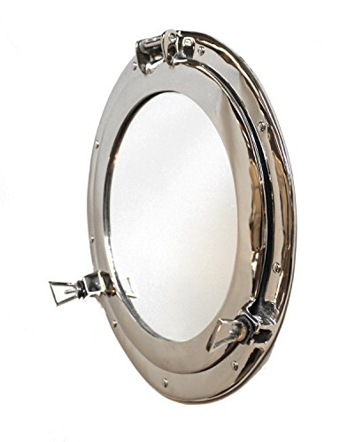 The Kings Bay Silver Porthole Mirror over solid brass nickel chrome satin old ()