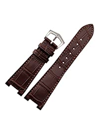 New 25mm Brown Genuine Leather Watch Strap Band Buckle Suitable PP patek philippe 5712G Replacement