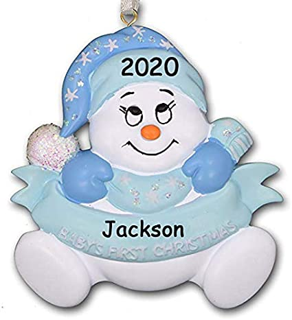 Grandsons First Christmas Ornament 2020 Amazon.com: 2020 Baby's First 1st Christmas Glitter Snowman with