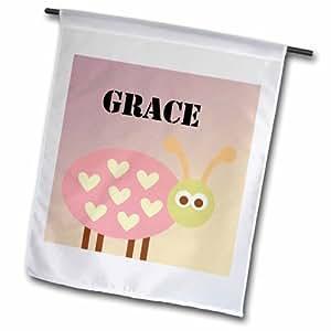 "3dRose fl_181254_2 ""Grace Pink Ladybug Girls Name"" Garden Flag, 18 x 27"""