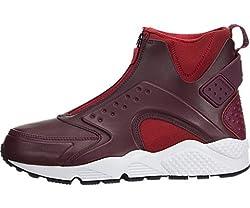 Nike Women's W Air Huarache Run MID Black/Bright Crimson 807313-600 (8.5)