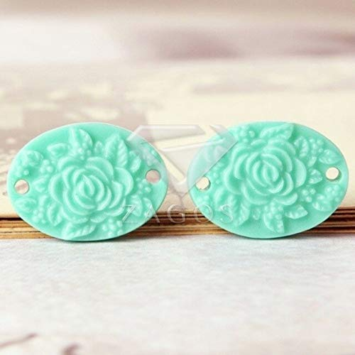 Laliva 8/10Pcs Resin Vintage Style Flower Beads Flat Back Cameo Cabochon 17x12x3mm for Jewelry Accessories Wholesale RB0562 - (Color: Aquamarine)