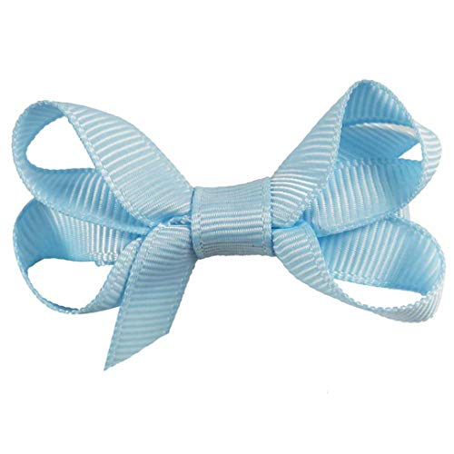 White Topaz Ribbon - 6Pcs/Lot 2'' Mini Solid Hair Clips Grosgrain Ribbon Hair Bows For Girls Kids Handmade Small Hairgrips Barrette Hair Accessories Blue Topaz