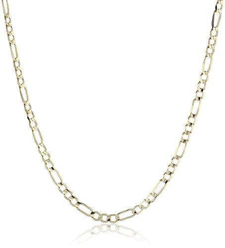 Collection Jewelry Gold (Men's 14k Yellow Gold 3.1mm Figaro Chain Necklace, 24