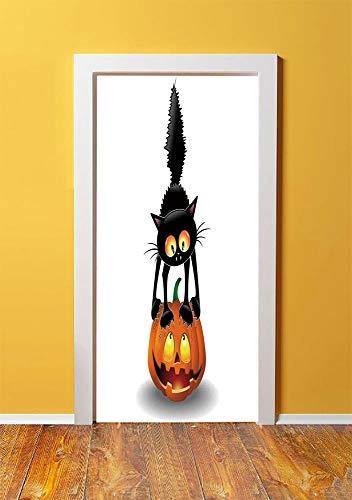 Halloween Decorations 3D Door Sticker Wall Decals Mural Wallpaper,Black Cat on Pumpkin Spooky Cartoon Characters Halloween Humor Art,DIY Art Home Decor Poster Decoration 30.3x78.13861,Orange Black ()