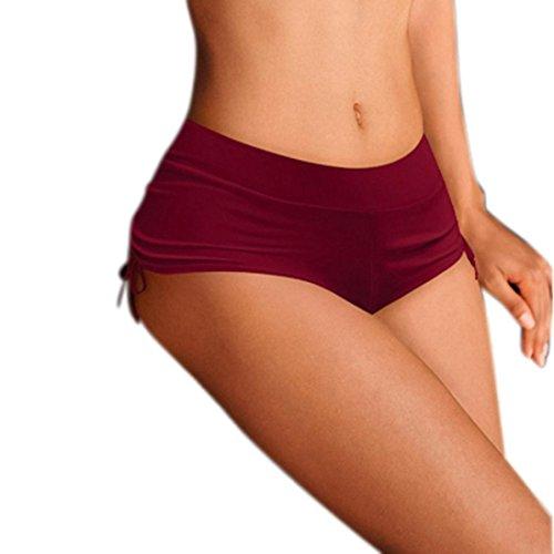 2018 OWomens Shorts Plain Bikini Swim Pants Swimwear Style Briefs Bottoms Beachwear (S, Red)