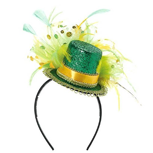 St. Patrick's Day Feathered Glitter Top Hat Headband Costume Party Head Wear Accessory, Multi Color, 11