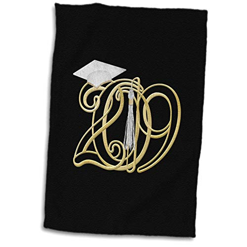 3dRose Beverly Turner Graduation Design - Intertwining 2019 with Graduation Cap and Tassel, Gold, White Color - 15x22 Hand Towel (TWL_301991_1)