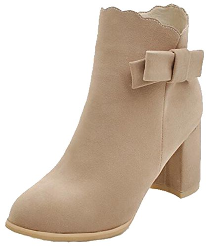 Easemax Womens Trendy Frosted Bows Round Toe Mid Chunky Heel Side Zipper Ankle Boots Beige Mx84PtI