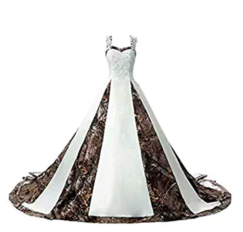 Kaitaijidian Women's Straps Camouflage Wedding Dresses for Bride Long Camo Bridal Gowns Plus Size White8