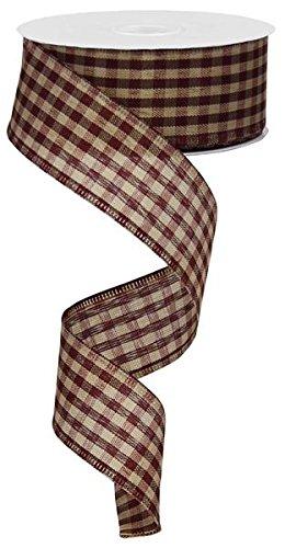 (Primitive Gingham Check Wired Edge Ribbon, 10 Yards (Burgundy, Tan, 1.5