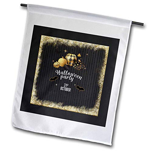 3dRose Beverly Turner Halloween Design - Designer Pumpkins, Leaves, and Bats, Halloween Party, October 31, Gold - 18 x 27 inch Garden Flag (fl_300620_2) -