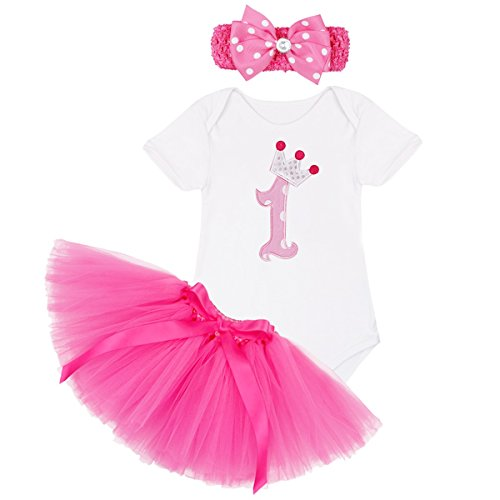 YiZYiF Newborn Baby Girls Minnie Mouse 3 Pieces Outfits Tutu Dress Up with Headband Hot Pink First Birthday 0-3 (Tutu Minnie Mouse)