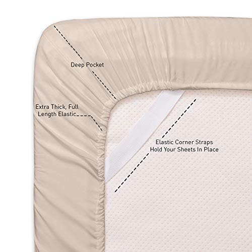 Sweet Home Collection Queen Sheets-6 Piece 1500 Thread Count Fine Brushed Microfiber Deep Pocket Set-2 EXTRA PILLOW CASES, VALUE, Beige