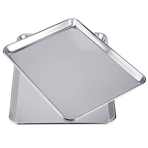 Love-homemaster Heavy Duty Pure Aluminum Half Sheet Pan Set, Cookie Baking Sheet Pan Set, 18