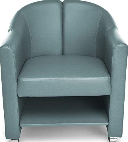 (Campton Mobile Club Lounge Chair in Aqua Vinyl with Lower Bottom Storage - Lounge Chair | Model LNGCHR - 241)