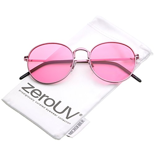 zeroUV - Bold Full Metal Frame Color Tinted Flat Lens Round Sunglasses 52mm (Pink / - Tinted Sunglasses Lens