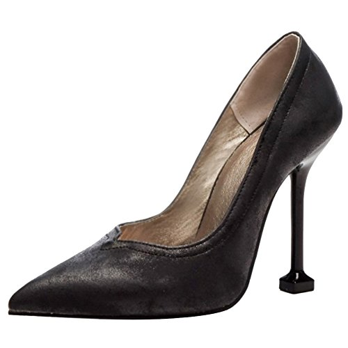 Heel Fashion TAOFFEN Silp Women Heel On High Black Shoes Classic Pump q8F5Sw8xr