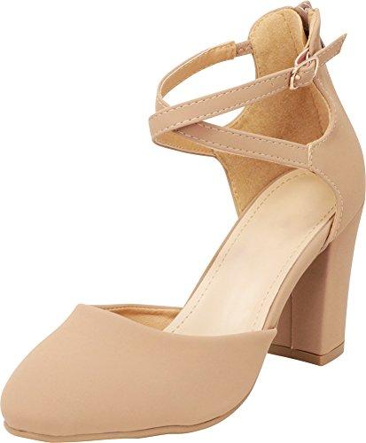 Cambridge Select Women's Closed Toe D'Orsay Crisscross Ankle Strap Back Zip Chunky Block High Heel Pump,9 B(M) US,Tan IMSU