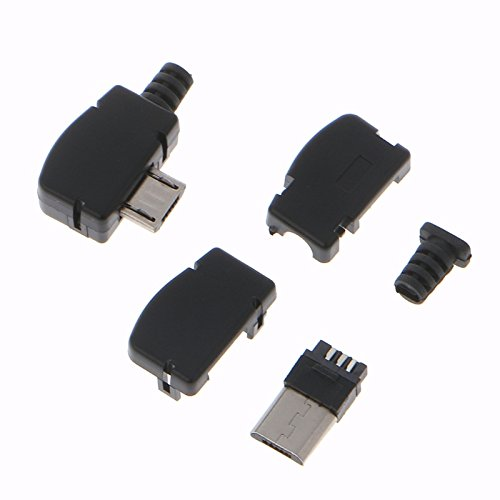 Davitu Connectors - Black 10 Sets 5 Pin Right Angle Micro USB Connector Male Plug Kit with Black Cover Solder Jack (Right 10 Angle Black)