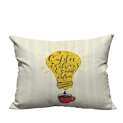 YouXianHome Modern Fashion Cushion Cover Always Good Idea Quote in Light Bulb and Mug Fun Artwork Resists Dust Mites(Double-Sided Printing) 12x16 -